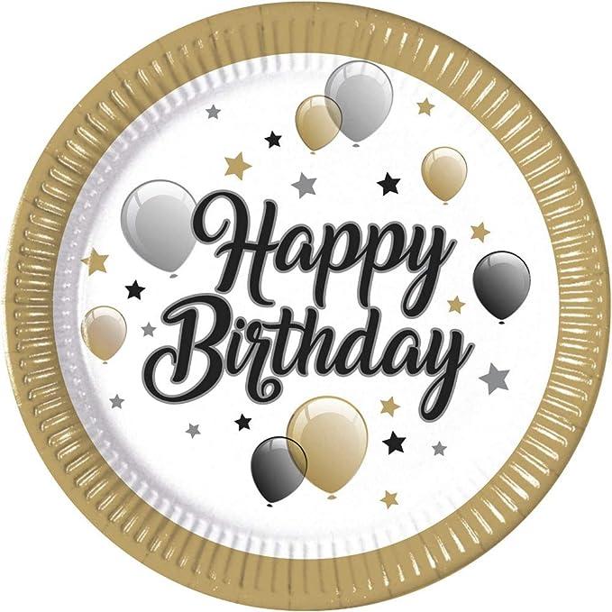 8 Happy Birthday Party-Teller Einmalteller Pappteller Alles Gute zum Geburtstag