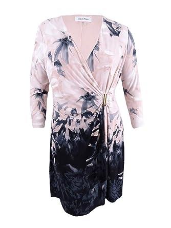 a526d7e0596 Image Unavailable. Image not available for. Color  Calvin Klein Women s  Printed Faux-Wrap Dress ...