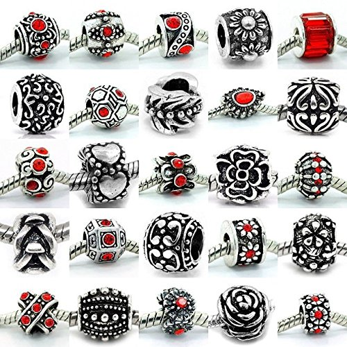 Price comparison product image Ten (10) of Assorted Crystal Rhinestone and Silver Spacers for Charms Bracelets (Red)