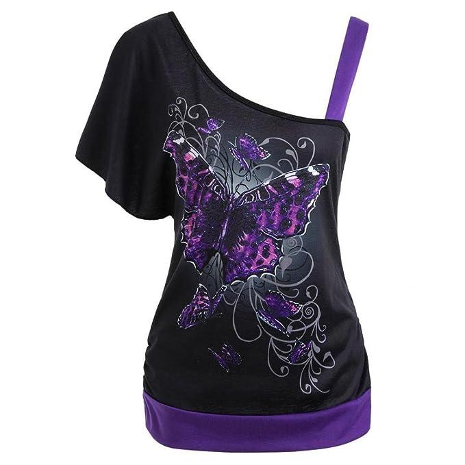 9e1aadee0ca9 Damen Kurzarm,Frashing Frauen Schmetterlings Druck Skew Kragen T-Shirt  Kurzarm Casual Tops Bluse