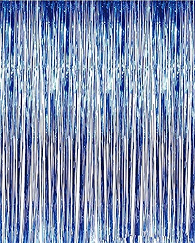 2 Pack Metallic Tinsel Blue Foil Fringe Door Curtain Party Decorations for Party Photo Backdrop Wedding decorations Royal Blue 3ft x 9ft
