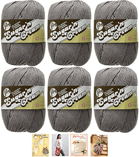 Bulk Buy: Lily Sugar'n Cream Yarn 100% Cotton Solids and Ombres (6-Pack) Medium #4 Worsted plus 4 Lily Patterns (Overcast 01042)