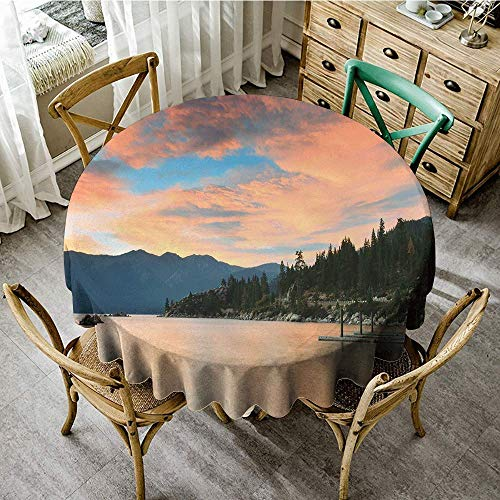 DONEECKL Oil-Proof and Leak-Proof Tablecloth Lake Romantic Sunset at Lake Tahoe Peaceful Shoreline Sierra Nevada United States Excellent Durability D63 Salmon Green Ivory