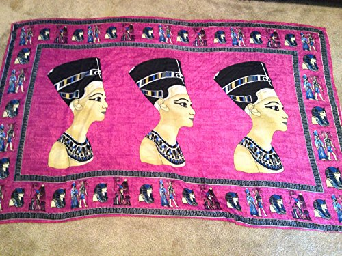 Huge XL Egyptian Handmade Queen Nefertiti Cotton woman Purple scarf from - Chanel Purple
