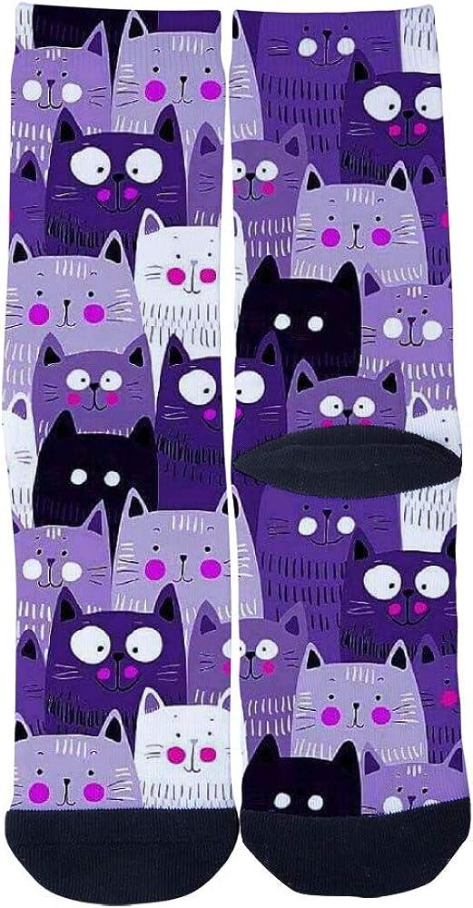 Funny Big Eyes Cats and Small Eyes Cats Socks Mens Womens Casual Socks Custom Sports Socks Creative Fashion Crew Socks