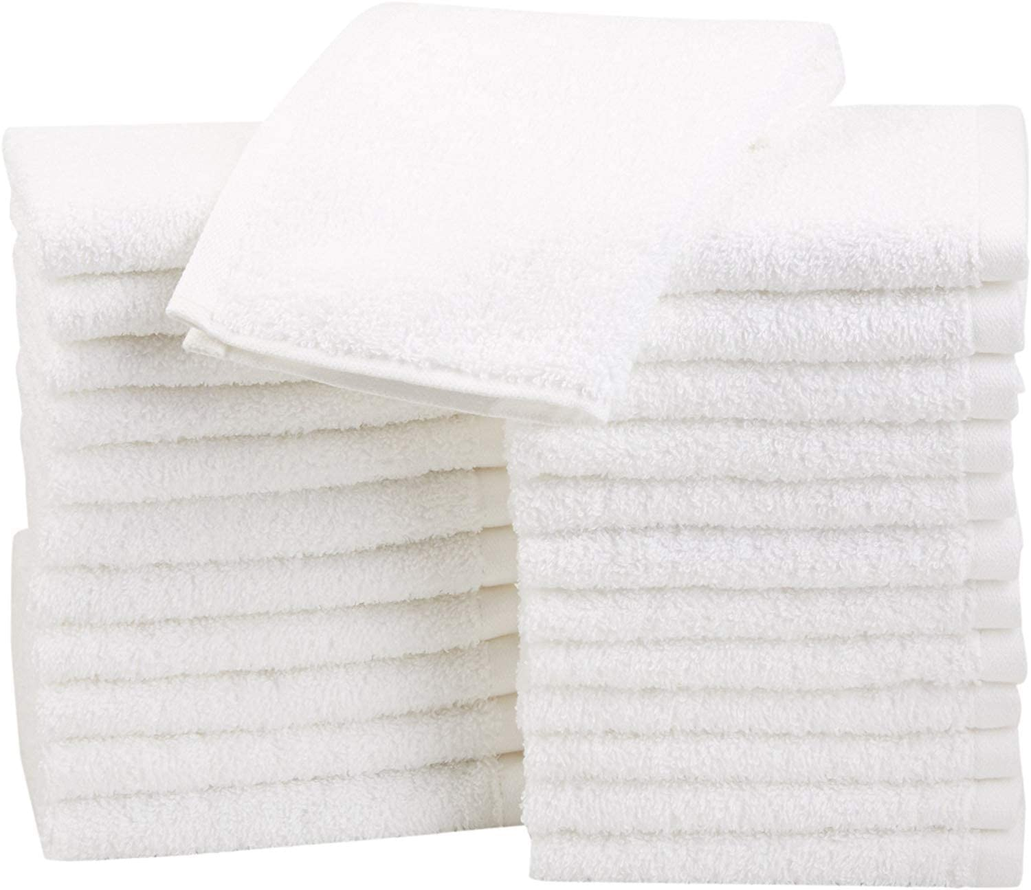 Basics Fast Drying, Extra Absorbent, Terry Cotton Washcloths, White - Pack of 24: Home & Kitchen