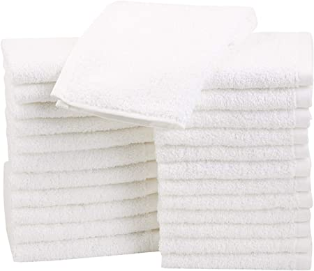 AmazonBasics - Paños de algodón (30,5 x 30,5 cm), pack de 24 - Blanco: Amazon.es: Hogar