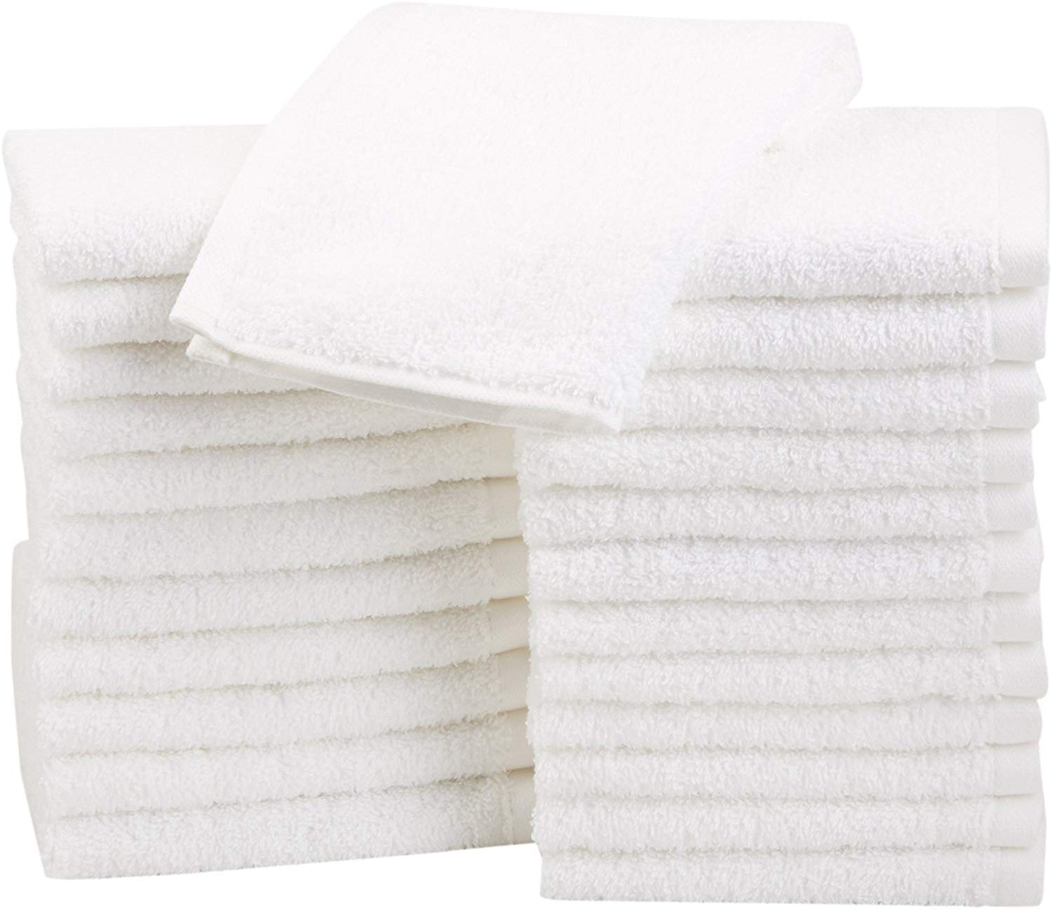 Amazon Basics Fast Drying, Extra Absorbent, Terry Cotton Washcloths, White - Pack of 24