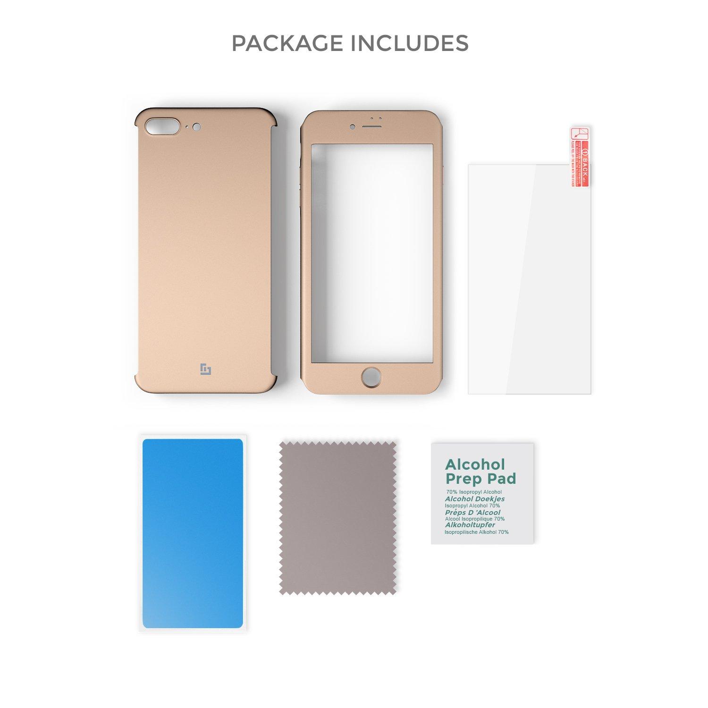 4d8f7718d2d Negro Funda iPhone 8 Plus 360 Grados Completa iPhone 8 Plus Case/Cover  Carcasa Integral y Cristal de Vidrio Templado ...