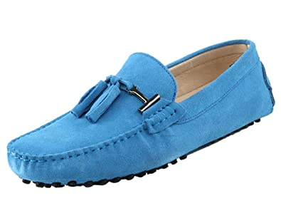 f1b1746530553 TDA Men's New Tassel Baby Blue Suede Driving Loafers Penny Boat Shoes 5 ...