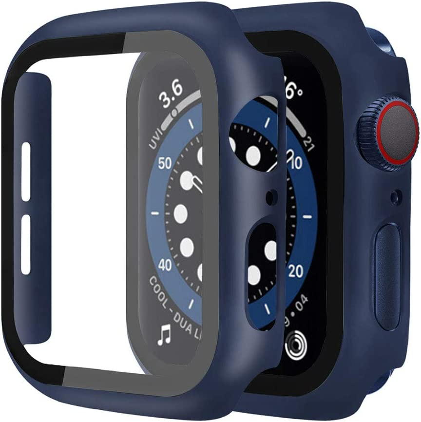 [2 Pack] Casok Hard Case Compatible with Apple Watch Series 4/5/6/SE 44mm Built-in Tempered Glass Screen Protector, Full ProtectionCoverage Hard Cover for Series 4/5/6/SE (44mm, Midnight Blue)