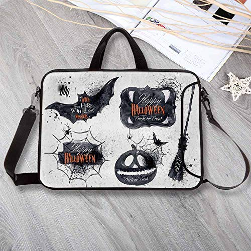 Vintage Halloween Neoprene Laptop Bag,Halloween Symbols Happy Holiday Witch Lives Here Broomstick Spider Web Decorative Laptop Bag for Office Worker Students,17.3