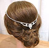 1920's Bridal Hair Chain, One-of-a-Kind Vintage Art Deco Rhinestone Wedding Headband, Forehead or Back of the Head Crystal Headpiece, Downton Abbey Inspired