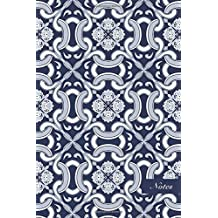 """Notes: 6""""x9"""" Blank Lined Page Notebook Navy Blue Spiral Curve Cross Botanic Garden Flower Vine Seamless Pattern Cover. Matte Softcover Ruled Note Book Journal"""