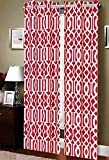 Elegance Linen Luxury Geometric Linen Look Printed Window Curtains/Panel/Drape with Grommets (Set of 2), Burgundy For Sale