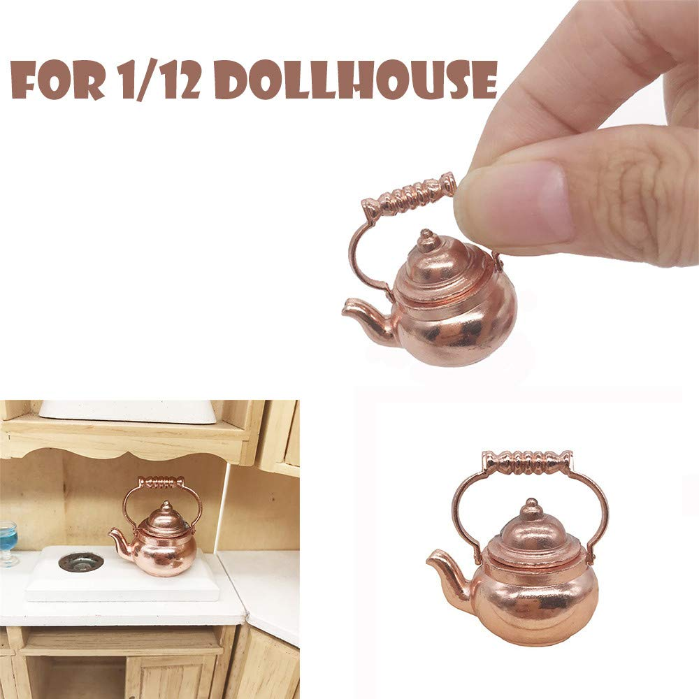 Girls Pretend Retro Kettle Pot Open Lid Toy for 1:12 Scale Dollhouse Miniature Kitchen Cookware Furniture - Can Really Cook With Fire,1.3x1.3x2.5 CM,1Pcs (Yellow)