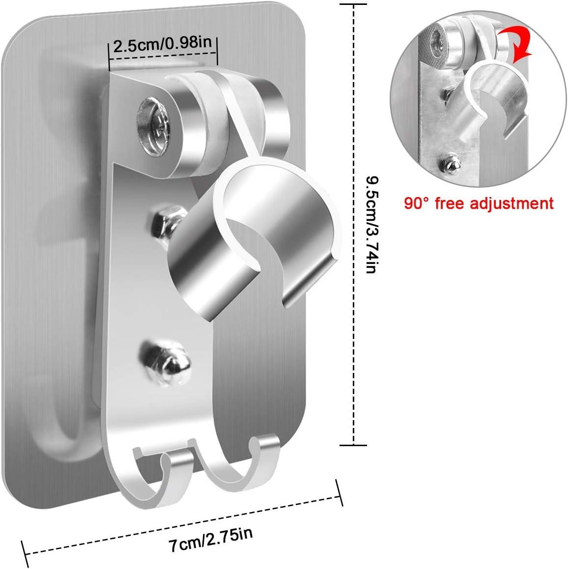 Shower/Head/Holder,/Adhesive/Shower/Bracket/no/Drilling,/Adjustable/Handheld/Shower/Head/Holders,/Nail/Free/Shower/Hose/Holder/Base/with/Hook//&/Ex