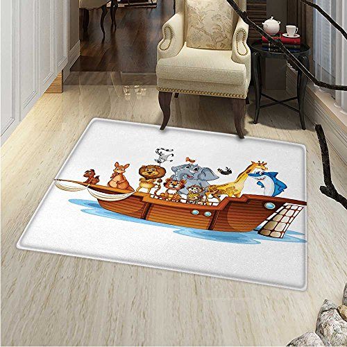 Ark Rug Kid Carpet Illustration of Many Animals Sailing in the Boat Mythical Journey Faith Giraffe Home Decor Foor Carpe 30''x40'' Multicolor by Anhounine