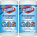 Clorox Anywhere Wet Wipes, Kid, Pet, Food Safe, Bleach-Free and Fragrance-Free, 75 Sheets 15.1 oz, 2-Pack