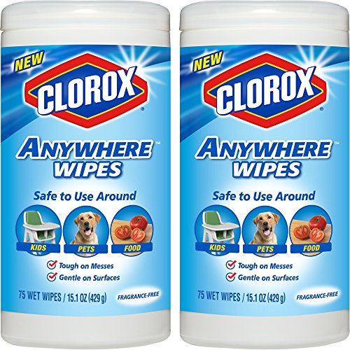 Clorox Anywhere Wet Wipes, Kid, Pet, Food Safe, Bleach-Free and Fragrance-Free, 75 Sheets 15.1 oz, 2-Pack by Clorox