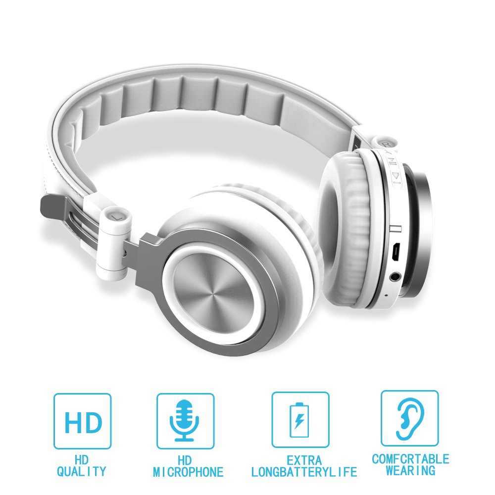 Bluetooth Headphones Over Ear, Hi-Fi Stereo Wireless Headset, Foldable, Soft Memory-Protein Earmuffs, with Built-in Mic and Wired Mode, Micro Support SD/TF Card for Travel iPhones Samsung PC, TV