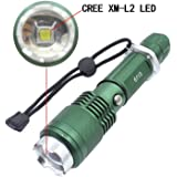 Genwiss 3000 Lumen CREE XM-L L2 LED Rechargeable Flashlight Super Bright Torch 5 modes-high,middle,low,strobe,SOS,Aluminum Alloy Adjustable Focus Zoom Light Lamp (Include battery and charger)
