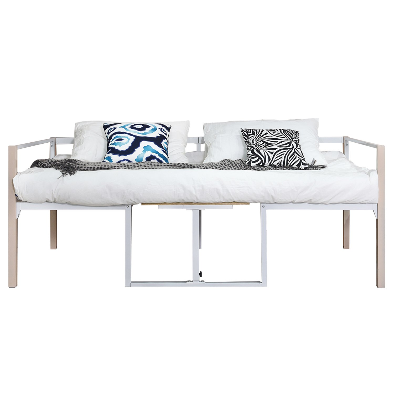 GreenForest Daybed Bed Frame with Wooden Board Mattress Support Foundation Steel Slat Platform Base Twin Size