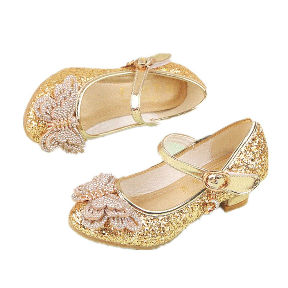 Girl's shoes Princess Cosplay Performance Shoes Sequins Dress Shoes Low Heeled (Gold 31/13 M US Little Kid) by pit4tk