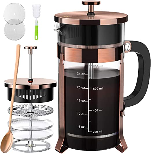 French Press Cafetera de té (34 oz), Prensa de café de acero ...
