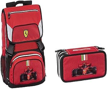 Mochila escolar Ferrari + estuche 3 cremalleras novedad 2020/2021: Amazon.es: Equipaje