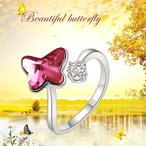 SUE'S SECRET Swarovski Element Ring Peach Red Butterfly Stone Rings with Swarovski Crystal, Ajustable Girls Rings, Birthstone Rings for Woman Girls by SUE'S SECRET (Image #2)