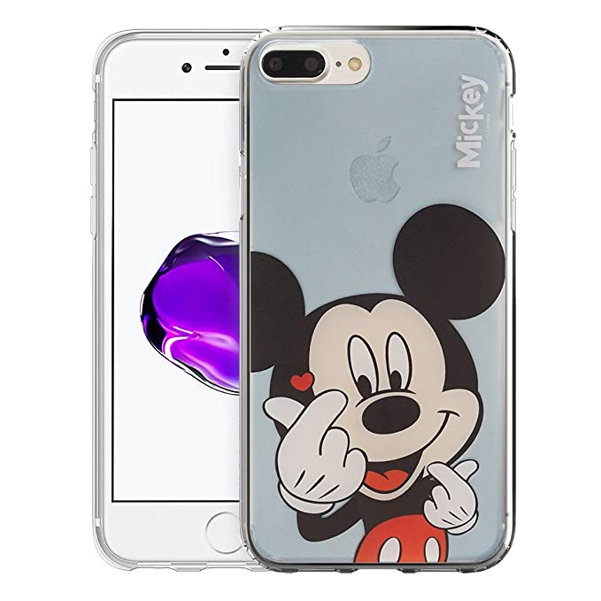 big sale f5e1b e38db iPhone 8 Plus/iPhone 7 Plus Case Disney Cute Soft Jelly Cover for [ iPhone  7 Plus/iPhone 8 Plus ] Case - Color Mickey Mouse