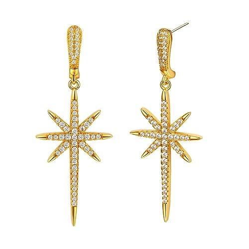 Star Dangle Earrings CZ Drop Earrings Gold Plated Pave Setting AAA CZ Long  Tassel Earrings for 0852b952c677
