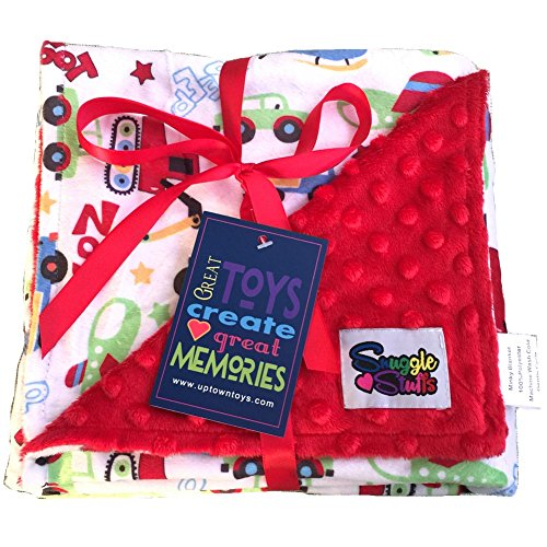 Reversible Unisex Children's Soft Baby Blanket Minky Dot (Choose Color) (Red Cars)