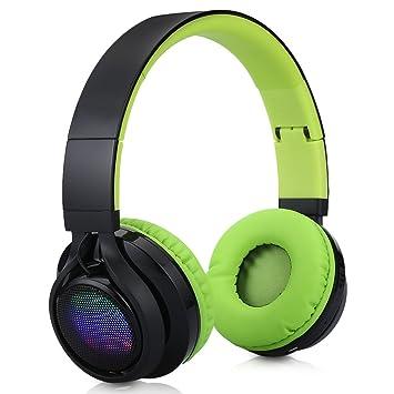 Excelvan BT9916 - Auricular Diadema Plegable Inalámbrico Bluetooth LED Estéreo Recargable Micrófono Incorporado para Smartphone Tablet Pc (Verde): ...