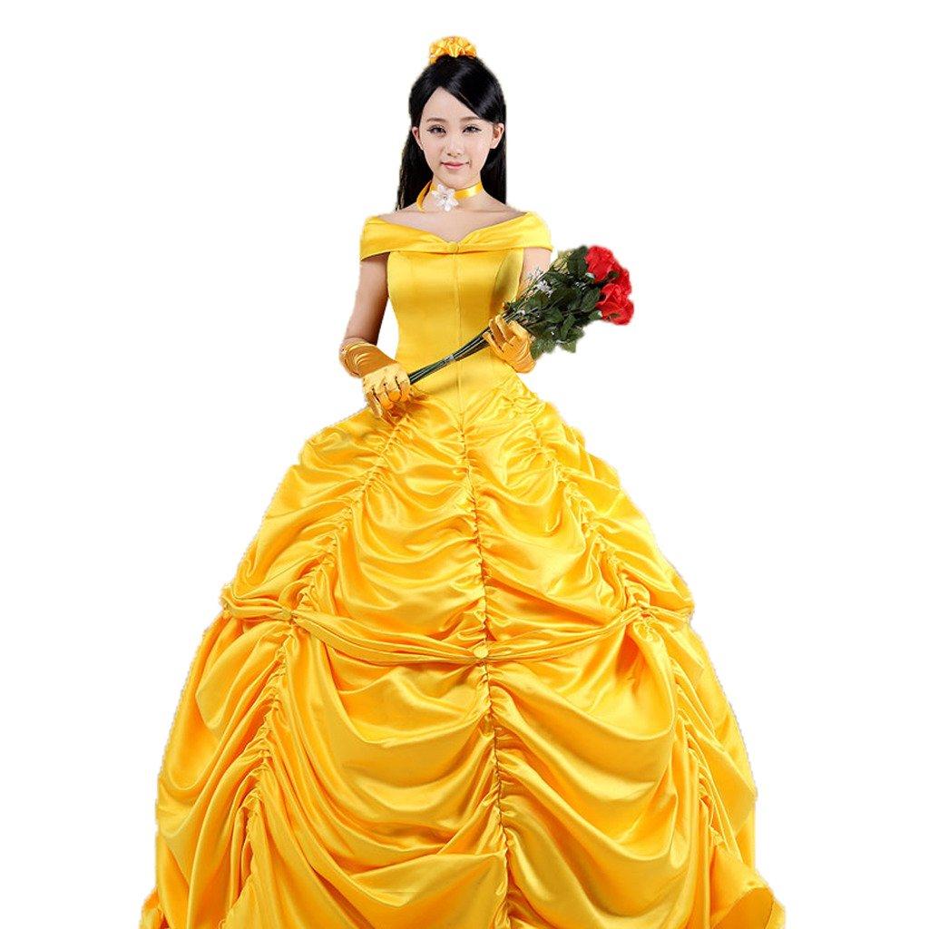 Pettigirl Womens Yellow Layered Classic Satin Beauty Princess Cosplay Dress XXS-3XL W-NBGD1004-1402-CA
