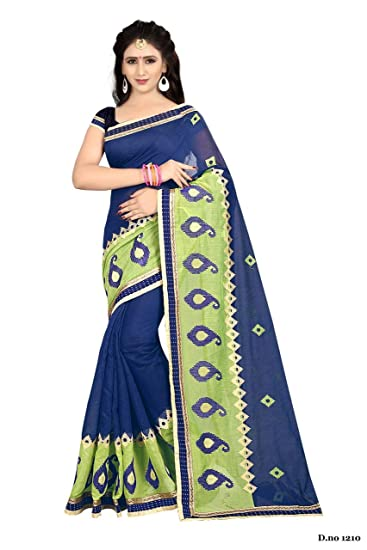 37ef975bc67299 Dhwani Enterprise Online Women'S Latest Designed Chanderi Silk Saree 2018  With Blouse Piece (Blue): Amazon.in: Clothing & Accessories