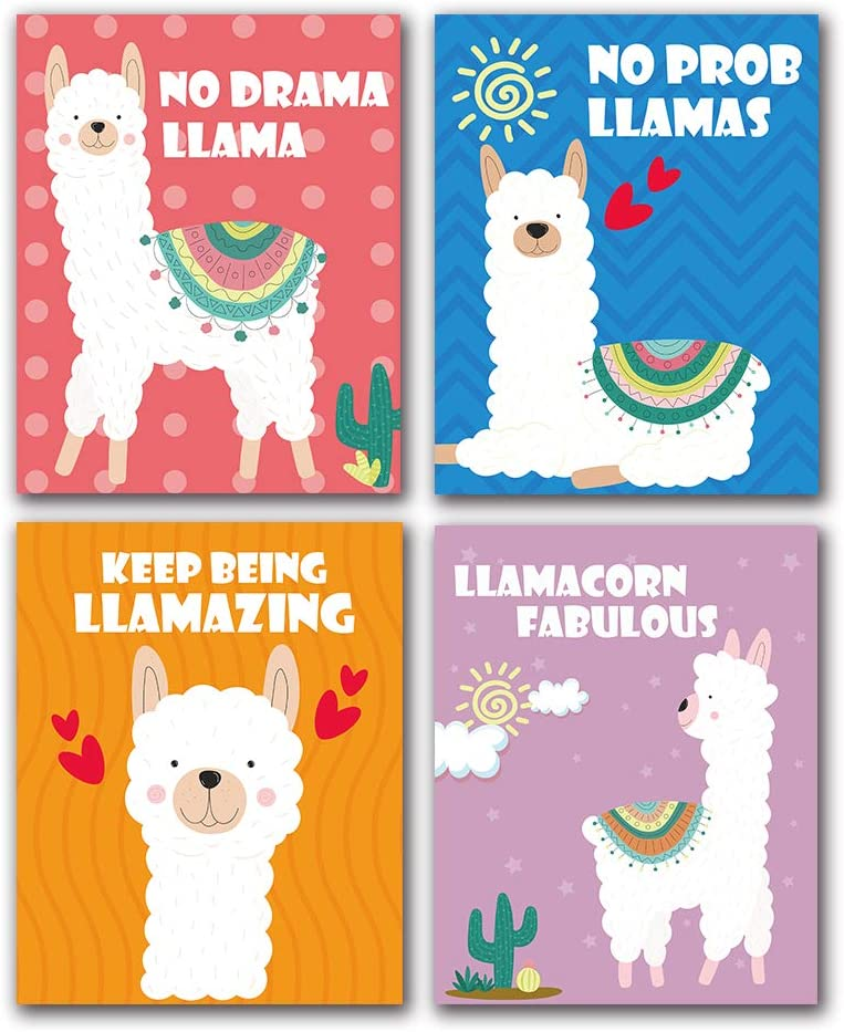 "Funny Colorful Llama Inspirational Quotes Art Print, Cute Room Baby Room Nursery Teen Girls Room Decor, Canvas Picture Poster for Kids Girls Bedroom Bathroom Home Decor, Set of 4 (8""X10""), No Frame"