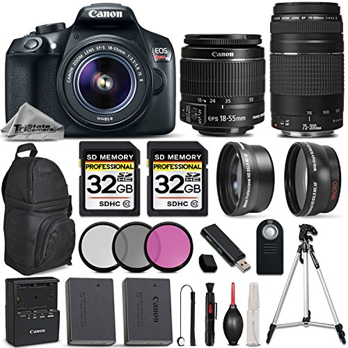 Canon EOS REBEL T6 DSLR Camera + Canon EF-S 18-55mm IS II Lens + Canon EF 75-300mm III Lens + 0.43X Wide Angle + 2.2x Telephoto HD Lens – All Original Accessories Included – International Version