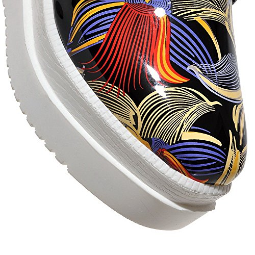 Amoonyfashion Pelle Verniciata A Punta Quadrata Scarpe Stringate Con Lacci Color Gattino-scarpe Rosse