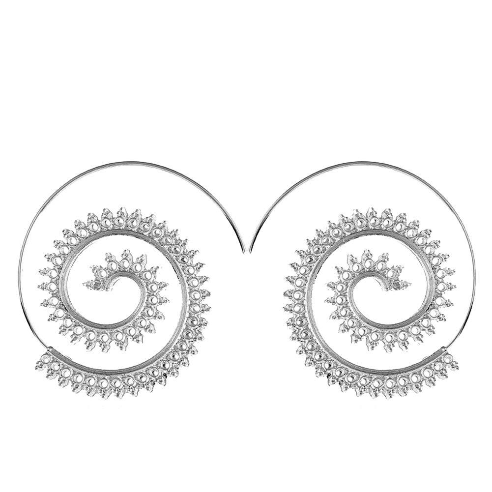 Hosaire Pendientes de Plata Moda Muchachas de Las Mujeres Pendientes de Espiral Redonda Mujeres de la Joyerí a Accesorios 4.5 * 3.8cm