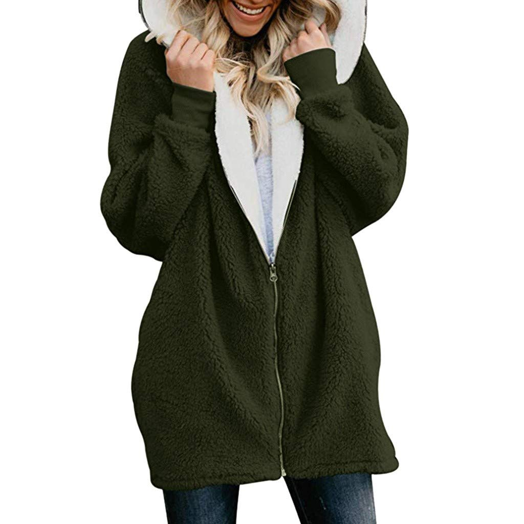 aihihe Plus Size Winter Coats for Women Warm Shaggy Lining Solid Oversized Fluffy Hooded Coats Jackets Outerwear Parka Green by aihihe Outerwear