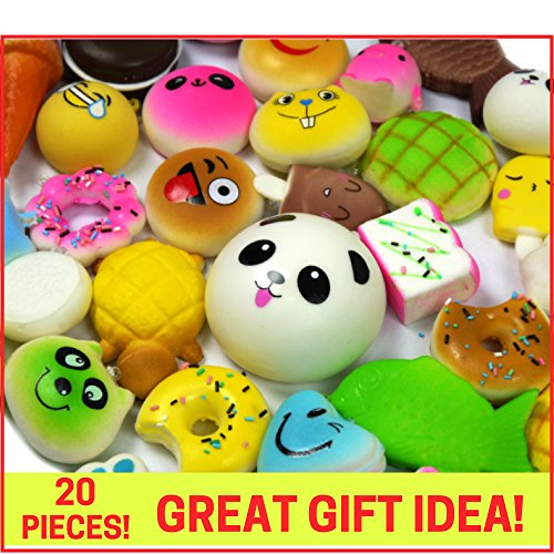 Squishies Slow Rising Squishy Toys-20pc Squishies Pack Of Jumbo, Medium & Mini Soft Panda Squishy, Cake, Buns and Donut Toys.Includes Keychain Straps.Best Cream Scented Gift Package For Boys & Girls - Friends File