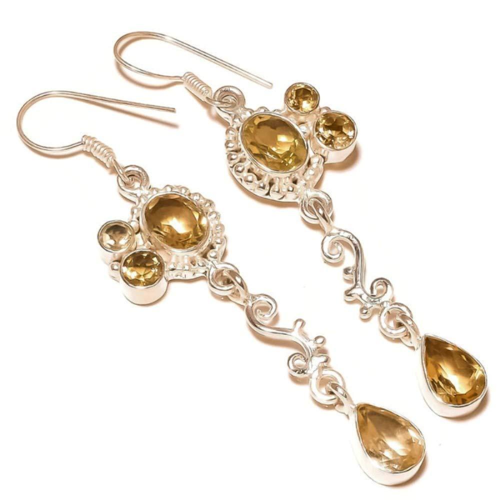 jaivav Yellow Citrine Gemstone Silver Plated Handmade Drop Dangle Yellow Stone Earrings