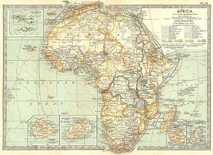 Africa Map Cape Verde.Amazon Com Africa Cape Verde Mauritius Reunion Ascension St