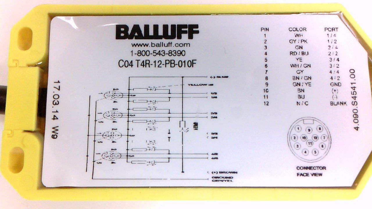 Balluff C04 T4r 12 Pb 010f Junction Box 4 Port 5p Female Wiring Diagram Industrial Scientific
