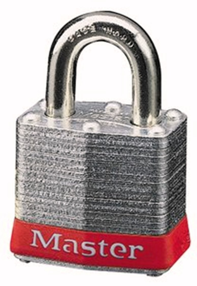 Master Lock 3RED No. 3 Safety Lockout Padlock, Steel Body, Red Bumper by Master Lock