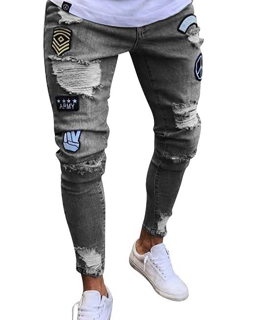 d68ca53321 Skinny Vaqueros Talle Alto Rotos Hombre Slim Fit Pantalones Al Tobillo   Amazon.es  Ropa y accesorios