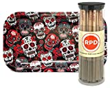 Bundle - 2 Items - 50 RAW Natural Lean Size Cones with Rolling Paper Depot Rolling Tray (Skulls)