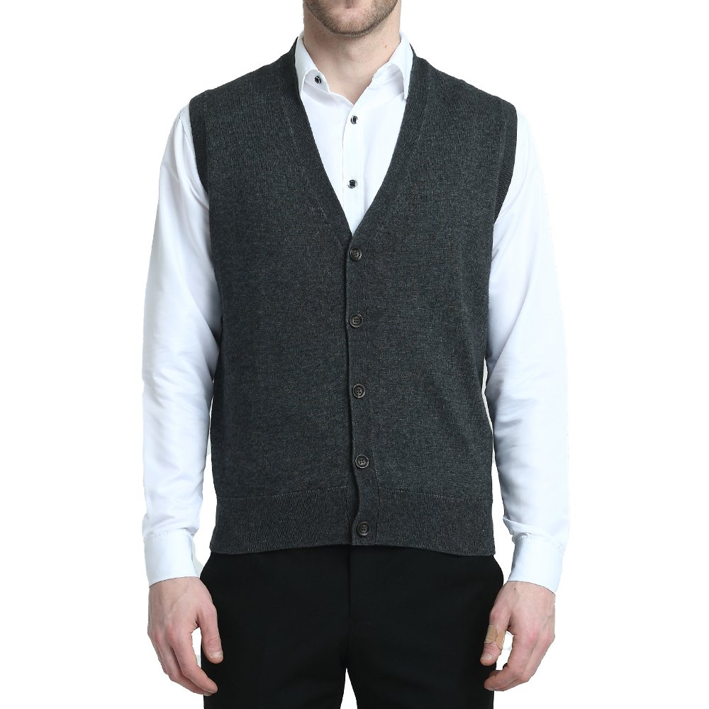 Kallspin Relaxed Fit Mens V-Neck Vest Sweater Cashmere Wool Blend Front Button (Charcoal, M)